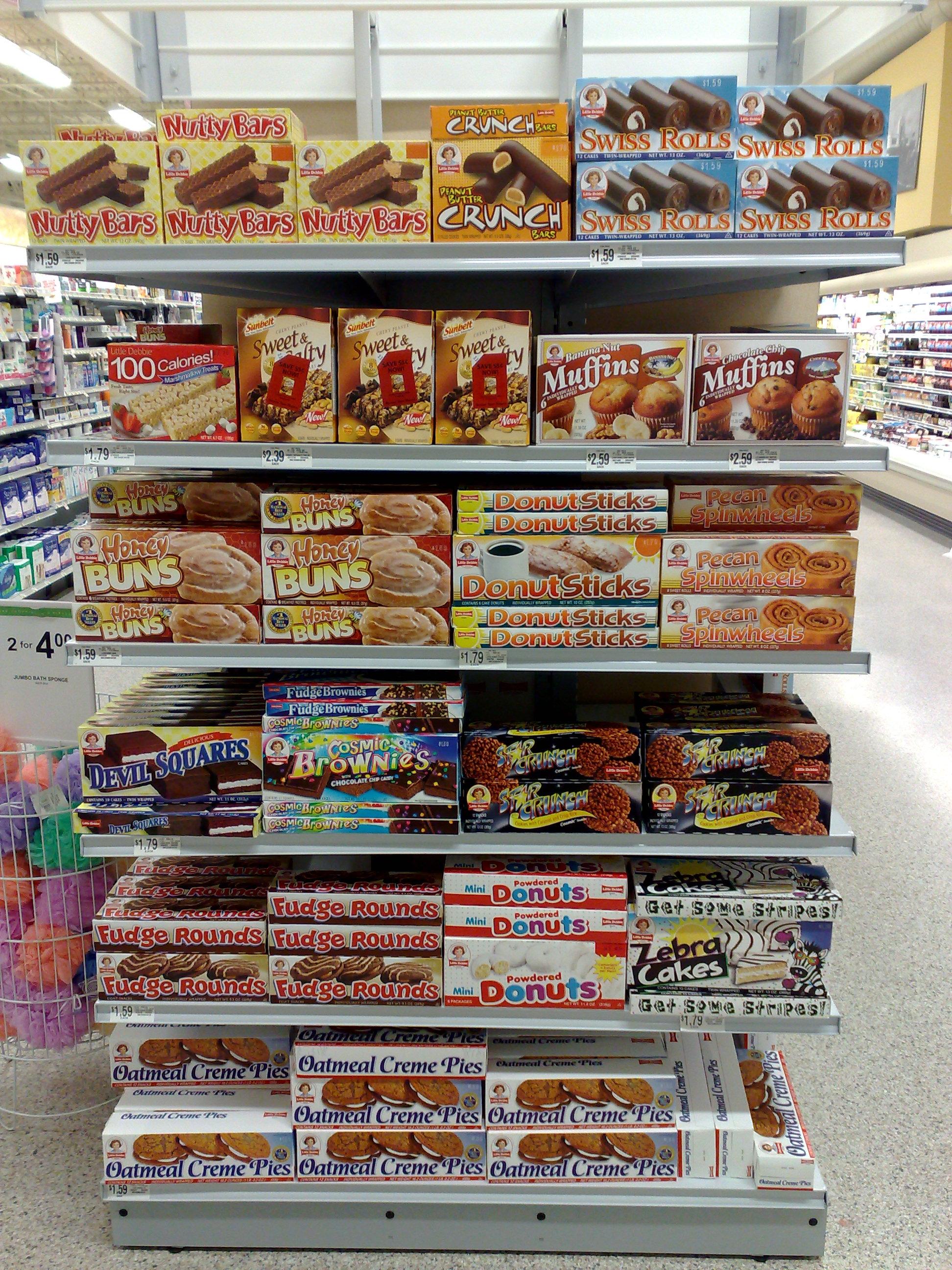 A shelf in a super market
