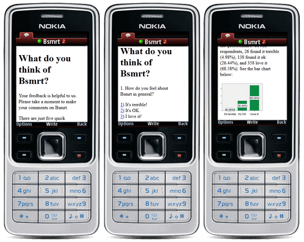 Bsmrt allows users to take quizzes and give feedback in the form of an IM conversation.