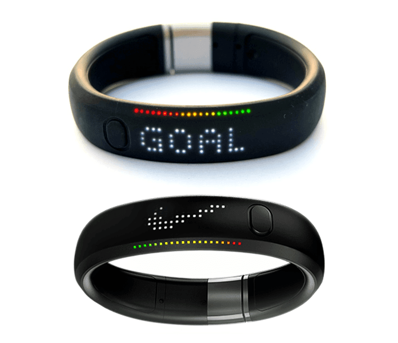 The NIke Fuel Band, which can be configured to flip its display