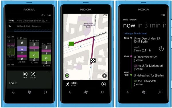 Three different states of the Nokia Transit app, all in portrait orientation