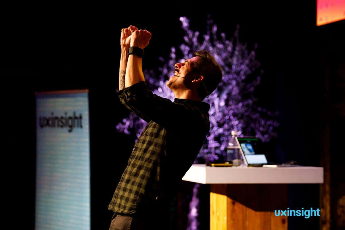 Brian Pagán on stage at UXinsight 2019