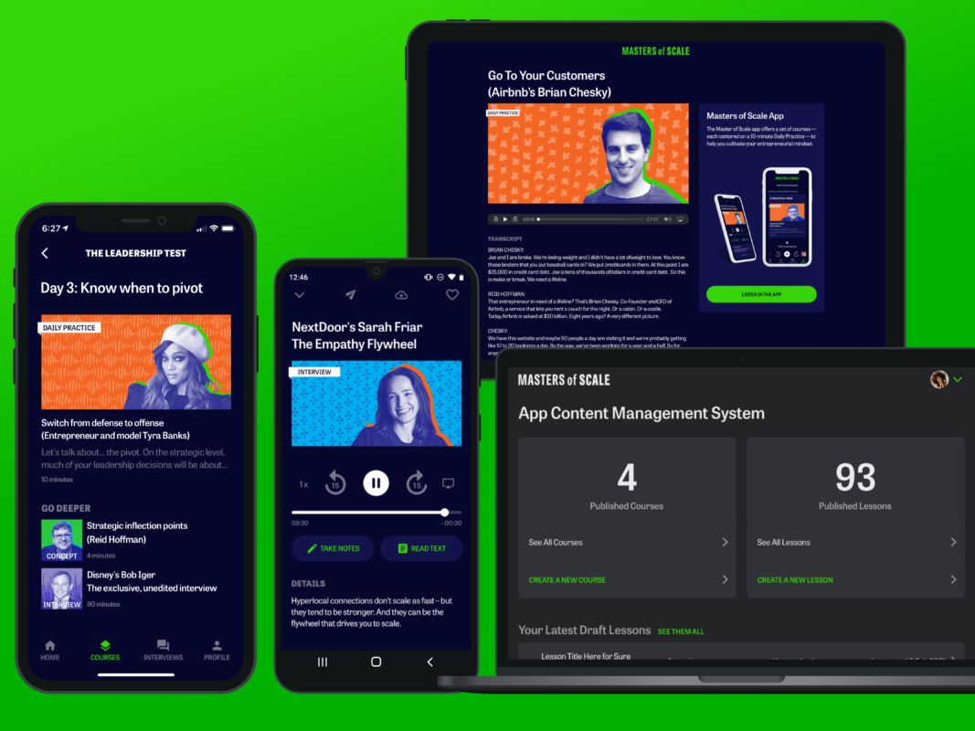 Within seven months, we delivered both mobile apps to market, including responsive web touchpoints and a custom CMS web app. I led the UX track from end to end, from product strategy and research to product design and UX copywriting.