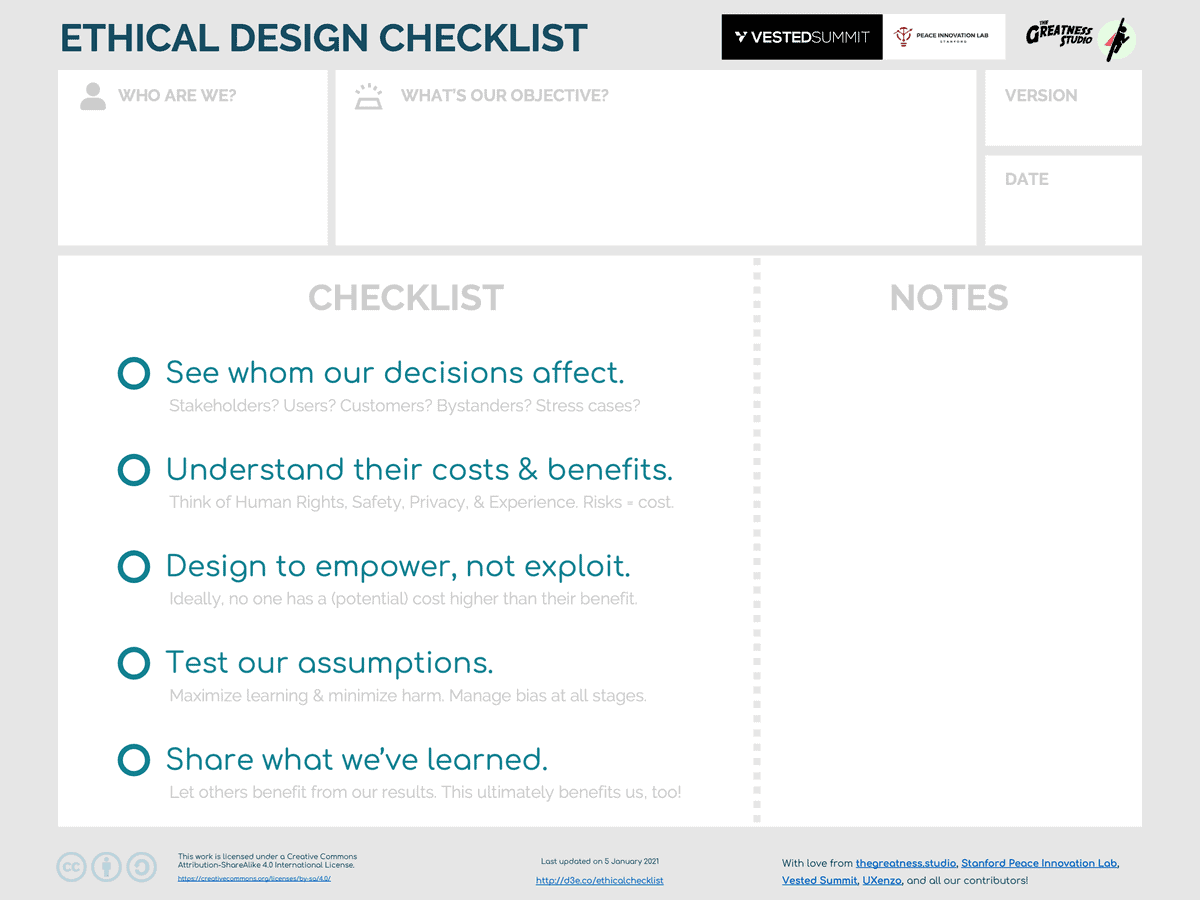 Ethical Design Checklist 20210105 - The Greatness Studio