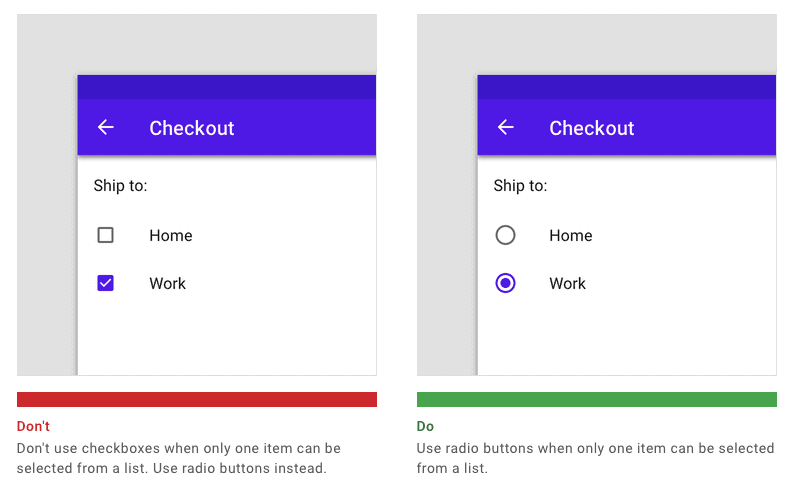 Screen grab of Material's design system Don't & Do for Radio Buttons